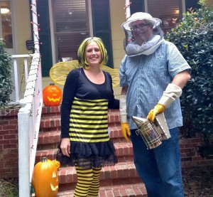 "Happy Halloween from the Queen and her ""keeper""."